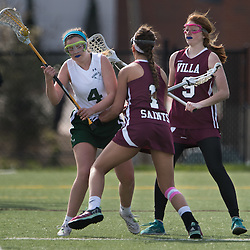Villa Duchesne co-captains Louise Keefer (1) and Molly Walsh (9) pressured Nerinx Hall's Lindsay Morrow (4) in the first half of a game between Nerinx Hall High School and Villa Duchesne at Nerinx Hall in Webster Groves April 5, 2016. Villa Duchesne won 9-8. Teak Phillips | St. Louis Review