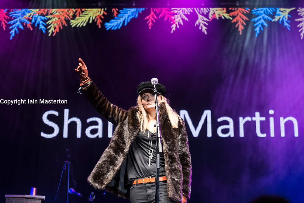 Sharon Martin performs at  Sleep in the Park, held in Princes Street Gardens in Edinburgh, saw almost 9000 people sleep outdoors to raise money and awareness of homelessness.