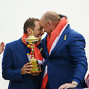 Captain Thomas Bjorn (Den) and Sergio Garcia (Esp) during the sunday singles session of Ryder Cup 2018, at Golf National in Saint-Quentin-en-Yvelines, France, September 30, 2018 - Photo Philippe Millereau / KMSP / ProSportsImages / DPPI