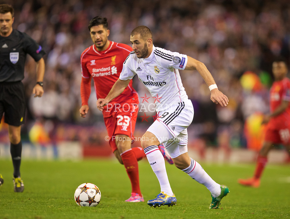 LIVERPOOL, ENGLAND - Wednesday, October 22, 2014: Real Madrid CF's Karim Benzema in action against Liverpool during the UEFA Champions League Group B match at Anfield. (Pic by David Rawcliffe/Propaganda)