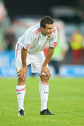 OSLO, NORWAY - Wednesday, August 5, 2009: Liverpool's Philipp Degen looks tired against FC Lyn Oslo during a preseason match at the Bislett Stadion. (Pic by David Rawcliffe/Propaganda)