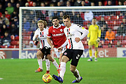 Charlton Athletic midfielder Krystian Bielik (4) plays a pass out of midfield during the EFL Sky Bet League 1 match between Barnsley and Charlton Athletic at Oakwell, Barnsley, England on 29 December 2018.