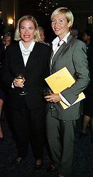 Left to right, sisters MRS LESLEY KING-LEWIS and <br /> TV presenter TANIA BRYER, at a reception in London<br />  on 26th April 2000.ODB 188
