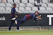 Lancashires Rob Jones amazing boundary catch<br />  during the Royal London 1 Day Cup match between Lancashire County Cricket Club and Northamptonshire County Cricket Club at the Emirates, Old Trafford, Manchester, United Kingdom on 24 April 2019.
