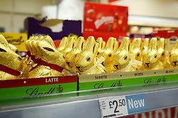 © Licensed to London News Pictures. 03/01/2020. London, UK. Little white chocolate bunnies are on sale in Iceland store in Haringey, North London, just nine days after Christmas Day. This year Easter Sunday is on 12 April 2020. Photo credit: Dinendra Haria/LNP