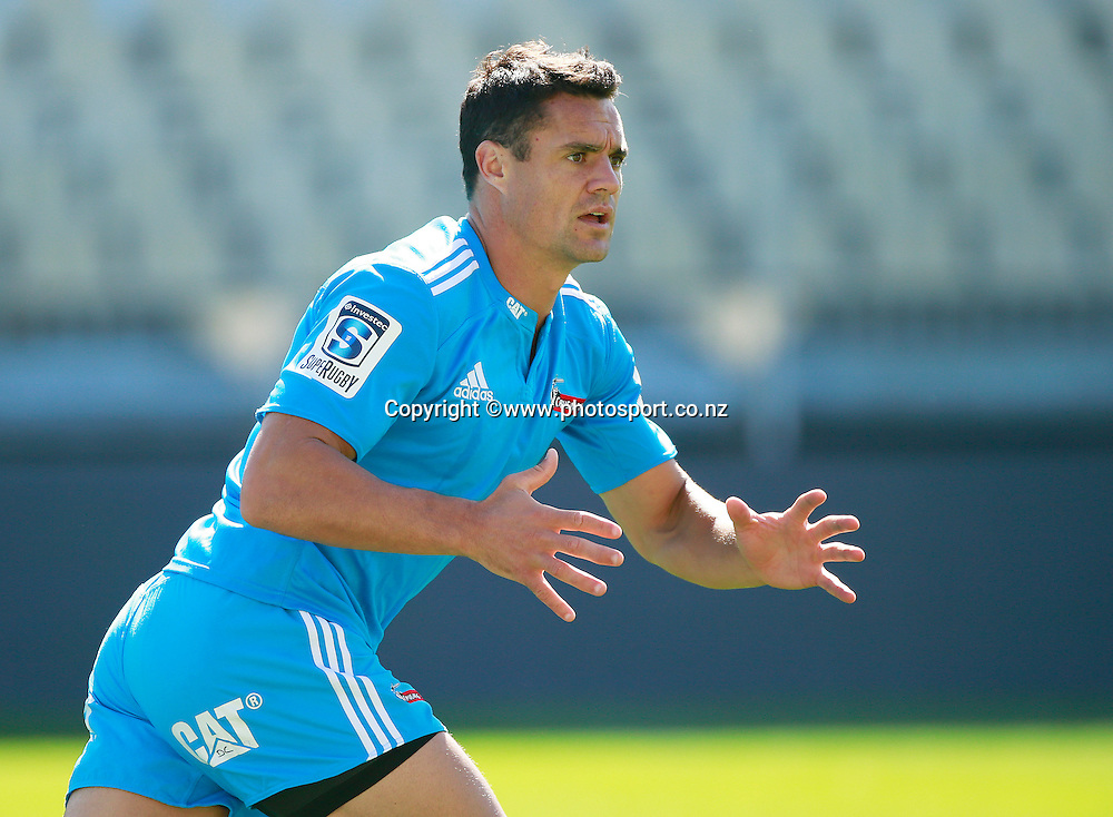 Dan Carter of the Crusaders during a captains run training session held at AMI Stadium, Christchurch. 12 February 2015 Photo: Joseph Johnson / www.photosport.co.nz