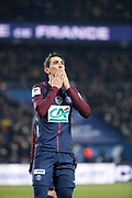 Angel Di Maria (psg) scored the first goal during the French Cup, quarter final football match between Paris Saint-Germain and Olympique de Marseille on February 28, 2018 at Parc des Princes Stadium in Paris, France - Photo Stephane Allaman / ProSportsImages / DPPI