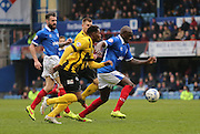 Portsmouth defender Nyron Nosworthy during the Sky Bet League 2 match between Portsmouth and Shrewsbury Town at Fratton Park, Portsmouth, England on 28 March 2015.