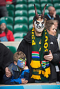 Twickenham, Great Britain, Springbok fan waiting for the kick off  first Quarter Final 1 game, South Africa vs Wales.  2015 Rugby World Cup,  Venue, Twickenham Stadium, Surrey, ENGLAND.  Saturday  17/10/2015.   [Mandatory Credit; Peter Spurrier/Intersport-images]