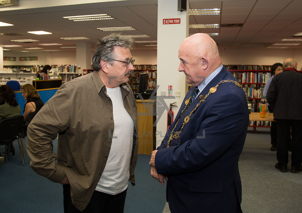 20.10.2016                 <br />  Launch of 1916-2016 Anthology of Reactions by Dr. John O&rsquo;Callaghan, Limerick City Library.<br /> This anthology is part of the Ireland 2016 year of events that feed into the Ireland 2016 Centenary Programme. It is a book of historical and literary reaction, a compilation of articles, essays, poems, stories and illustrations from writers and artists of varying opinion and hue.<br /> <br /> Pictured at the event were, Dominic Taylor, Limerick Writters Centre and Mayor Cllr. Kieran O'Hanlon. Picture: Alan Place