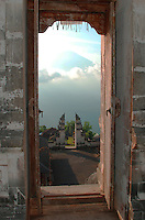 A view of Agung through the window of Lempuyang Temple, Bali, Indonesia.