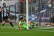 Forest Green Rovers Omar Bugiel(11) slides in to score, 0-1 during the EFL Sky Bet League 2 match between Notts County and Forest Green Rovers at Meadow Lane, Nottingham, England on 7 October 2017. Photo by Shane Healey.