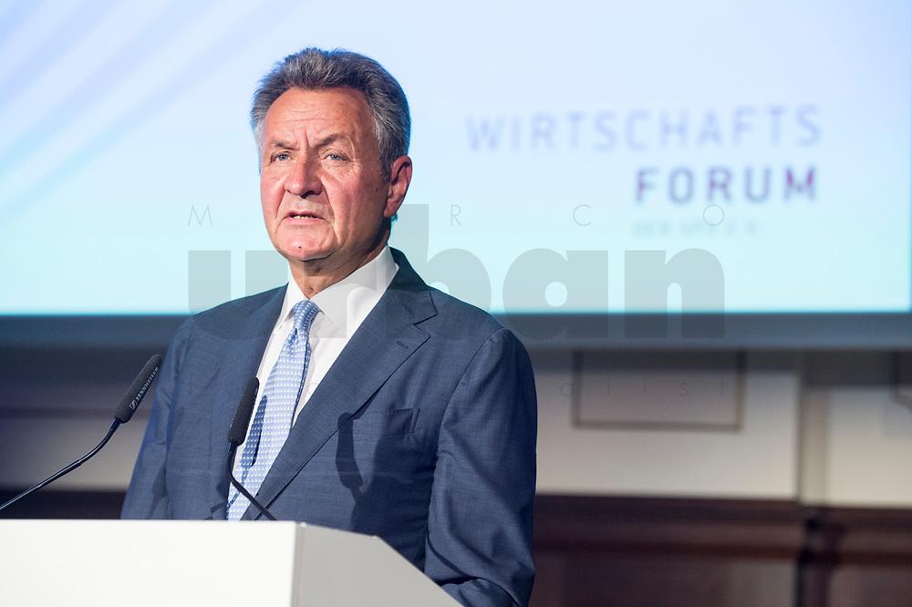 07 JUN 2018, BERLIN/GERMANY:<br /> Michael Frenzel, Praesident des Wirtschaftsforums der SPD e. V., haelt eine Rede auf dem Parlamentarischen Abend des SPD WIrtschaftsforums, Meistersaal<br /> IMAGE: 20180607-01-157