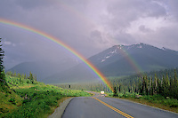 Double rainbow over a motorhome travelling the Duffey Lake Road, Hwy99, BC Canada.