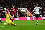 Goal - Mohamed Salah (11) of Liverpool scores a goal beating Aaron Ramsdale (12) of AFC Bournemouth to give a 0-3 lead during the Premier League match between Bournemouth and Liverpool at the Vitality Stadium, Bournemouth, England on 7 December 2019.