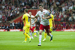 June 10, 2017 - Warsaw, Poland - Robert Lewandowski of Poland celebrates after his second goal during the FIFA World Cup 2018 Qualifying Group E match  between Poland and Romania at PGE National Stadium in Warsaw, Poland on June 10, 2017  (Credit Image: © Andrew Surma/NurPhoto via ZUMA Press)