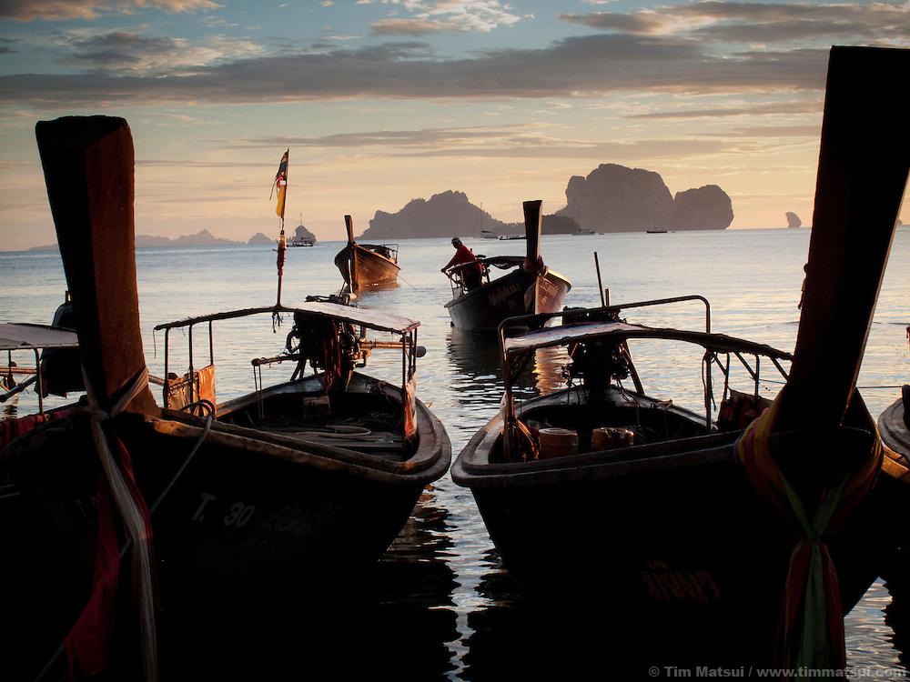 Longtail boats moored at Tonsai Beach, Thailand.