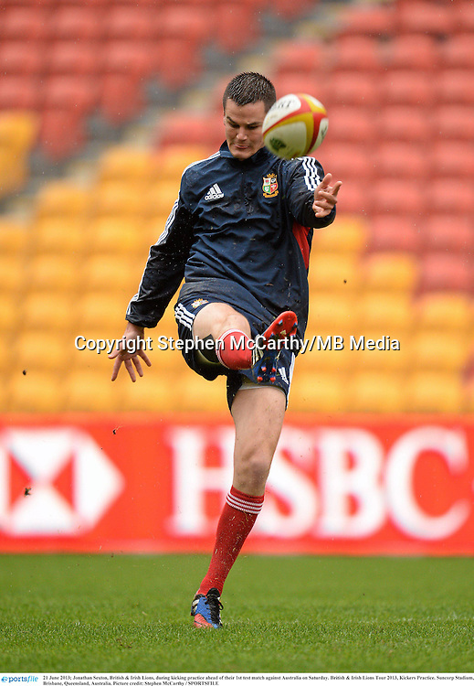 21 June 2013; Jonathan Sexton, British & Irish Lions, during kicking practice ahead of their 1st test match against Australia on Saturday. British & Irish Lions Tour 2013, Kickers Practice. Suncorp Stadium, Brisbane, Queensland, Australia. Picture credit: Stephen McCarthy / SPORTSFILE