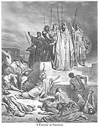 The Famine in Samaria 2 Kings 6:25-26 From the book 'Bible Gallery' Illustrated by Gustave Dore with Memoir of Dore and Descriptive Letter-press by Talbot W. Chambers D.D. Published by Cassell & Company Limited in London and simultaneously by Mame in Tours, France in 1866