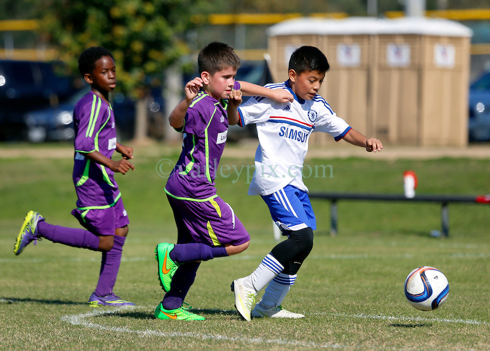 06 December 2015. Missouri City, Texas. <br /> Eclipse Soccer Club, 8th Annual Academy Cup - Toby Lazor Classic.<br /> New Orleans Jesters Youth Academy U10 Purple v ID Chelsea 06B. 2nd game.<br /> Chelsea win 4-0.<br /> Photo&copy;; Charlie Varley/varleypix.com