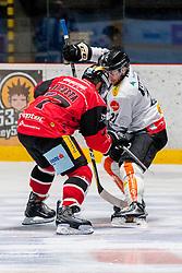 22.10.2016, Ice Rink, Znojmo, CZE, EBEL, HC Orli Znojmo vs Dornbirner Eishockey Club, 13. Runde, im Bild v.l. Teddy Da Costa (HC Orli Znojmo) Charlie Sarault (Dornbirner) // during the Erste Bank Icehockey League 13th round match between HC Orli Znojmo and Dornbirner Eishockey Club at the Ice Rink in Znojmo, Czech Republic on 2016/10/22. EXPA Pictures © 2016, PhotoCredit: EXPA/ Rostislav Pfeffer