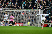 Northampton Town GoalKeeper Adam Smith sees the ball hit the back of his net during the The FA Cup Third Round Replay match between Milton Keynes Dons and Northampton Town at stadium:mk, Milton Keynes, England on 19 January 2016. Photo by Dennis Goodwin.