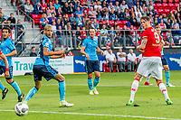 ALKMAAR - 25-05-2017, AZ, - FC Utrecht, AFAS Stadion, AZ speler Wout Weghorst scoort hier de 2-0, doelpunt, FC Utrecht speler Ramon Leeuwin