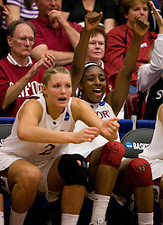 March 20, 2010; Stanford, CA, USA; Stanford Cardinal forward Nnemkadi Ogwumike (30) and Stanford Cardinal forward/center Jayne Appel (2) celebrate on the bench during the second half against the UC Riverside Highlanders in the first round of the 2010 NCAA womens basketball tournament at Maples Pavilion.  Stanford defeated UC Riverside 79-47.