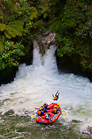 A raft from River Rats Rafting pauses after going off the 7 meter (21 foot) Tutea Falls on the Kaituna River (the highest commercially rafted waterfall in the world), near Rotorua, on the North Island of New Zealand.