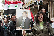 January 11, 2012, Damascus, Syria. Demonstrators in favor of Bachar el-Assad in the old city of Damascus during the civil war. <br /> <br /> 11 janvier 2012, Damas, Syrie. Manifestants en faveur de Bachar el-Assad dans la vieille ville de Damas pendant la guerre civile.<br /> 11 janvier 2012, Damas, Syrie. Manifestants en faveur de Bachar el-Assad dans la vieille ville de Damas pendant la guerre civile.