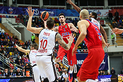 MOSCOW, Jan. 20, 2017  Nando De Colo (C) of CSKA Moscow of Russia passes the ball during the Euroleague basketball game against Brose Bamberg of Germany in Moscow, Russia, on Jan. 19, 2017. CSKA won 85-64. (Credit Image: © Evgeny Sinitsyn/Xinhua via ZUMA Wire)