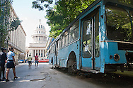 Abandoned bus near Capitolio building, Havana, Cuba