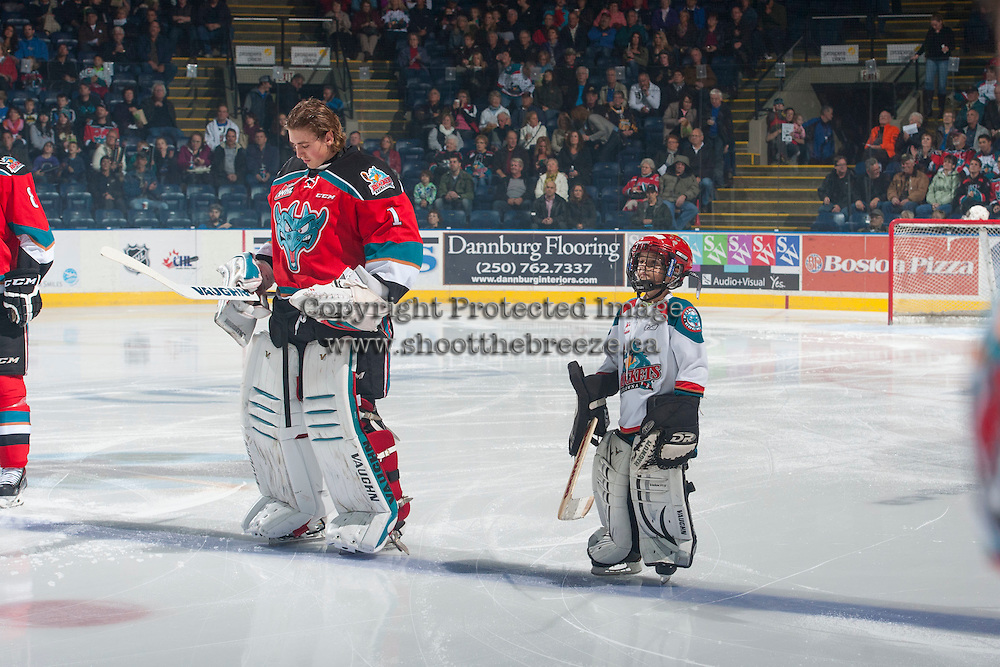KELOWNA, CANADA - OCTOBER 25: The Pepsi Save On Foods Player of the game lines up with the Kelowna Rockets against the Brandon Wheat Kings on October 25, 2014 at Prospera Place in Kelowna, British Columbia, Canada.  (Photo by Marissa Baecker/Shoot the Breeze)  *** Local Caption *** Pepsi Save-On Foods Player of the Game;
