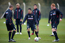 SWANSEA, WALES - Monday, March 30, 2009: Wales' Under-21 Neil Taylor training at the Glamorgan Health & Racquets Club ahead of the UEFA Under-21 Championship Qualifying group 3 match. (Photo by David Rawcliffe/Propaganda)