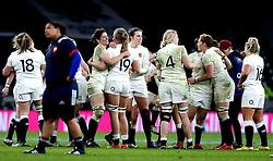 England celebrate their win over France - Mandatory by-line: Robbie Stephenson/JMP - 04/02/2017 - RUGBY - Twickenham - London, England - England v France - Women's Six Nations