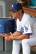 LOS ANGELES, CA - JULY 31:  Manager Don Mattingly #8 of the Los Angeles Dodgers looks on from the dugout during the game against the Arizona Diamondbacks on July 31, 2011 at Dodger Stadium in Los Angeles, California. The Diamondbacks won the game 6-3. (Photo by Paul Spinelli/MLB Photos via Getty Images) *** Local Caption *** Don Mattingly