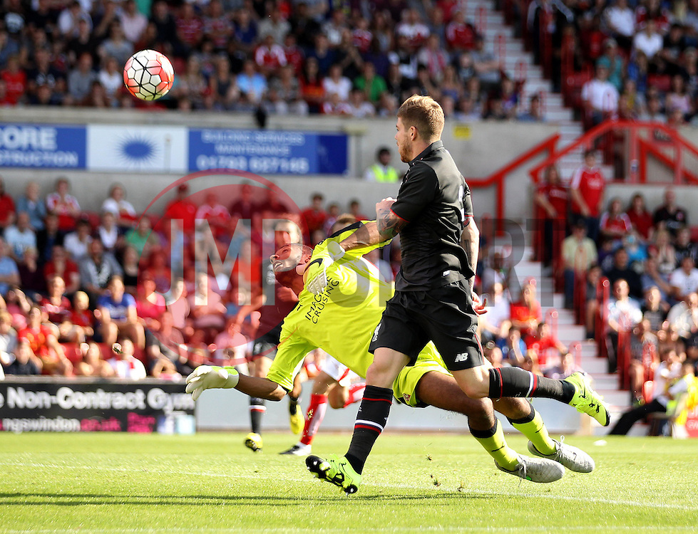 Liverpool's Alberto Moreno sees his shot saved from Swindon Town trialist Lawrence Vigouroux - Mandatory by-line: Robbie Stephenson/JMP - 07966386802 - 02/08/2015 - SPORT - FOOTBALL - Swindon,England - County Ground - Swindon Town v Liverpool - Pre-Season Friendly