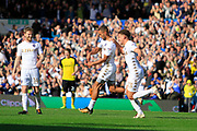 Leeds United midfielder Kemar Roofe (7) scores a goal to make the score 4-0 and celebrates during the EFL Sky Bet Championship match between Leeds United and Burton Albion at Elland Road, Leeds, England on 9 September 2017. Photo by Richard Holmes.