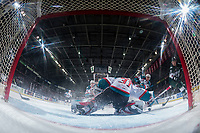KELOWNA, CANADA - FEBRUARY 2: Wyatte Wylie #29 of the Everett Silvertips takes a shot on the net of Brodan Salmond #31 of the Kelowna Rockets on FEBRUARY 2, 2018 at Prospera Place in Kelowna, British Columbia, Canada.  (Photo by Marissa Baecker/Shoot the Breeze)  *** Local Caption ***