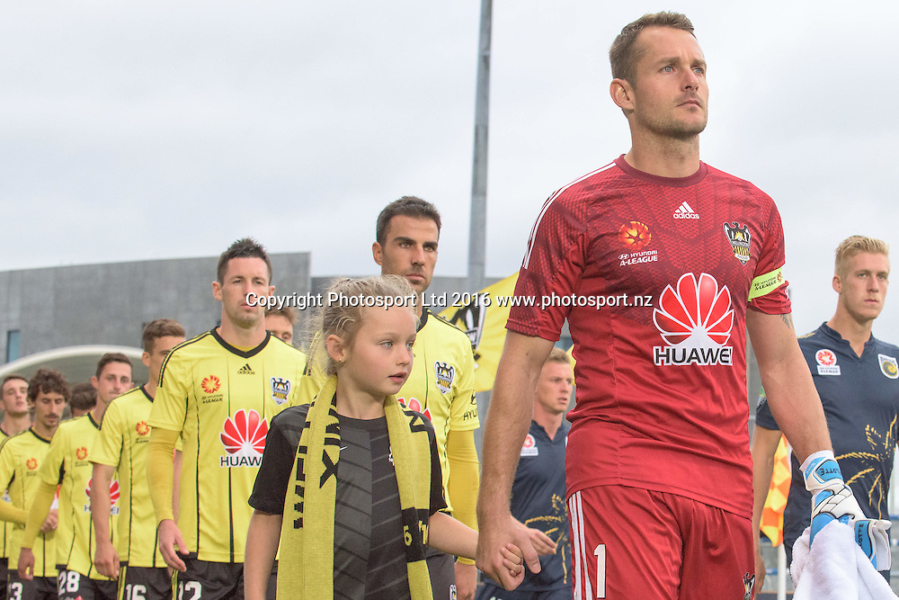Captain Glen Moss of the Phoenix leads his team onto the field ahead of the round 17 A-League match between the Wellington Phoenix and the Central Coast Mariners at AMI Stadium in Christchurch, New Zealand. 30 January 2016. Photo: Kai Schwoerer / www.photosport.nz