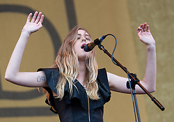 © Licensed to London News Pictures. 14/06/2015. Isle of Wight, UK.   First Aid Kit performing live at Isle of Wight Festival 2015, Day 4 Sunday.   In this picture - Johanna Soderberg.  Headline acts include The Prodigy, Blur and Fleetwood Mac.   Photo credit : Richard Isaac/LNP