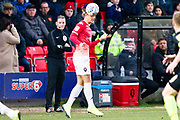 Salford City defender Oscar Threlkeld head the ball during the EFL Sky Bet League 2 match between Salford City and Macclesfield Town at the Peninsula Stadium, Salford, United Kingdom on 23 November 2019.