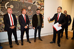 ADELAIDE, AUSTRALIA - Sunday, July 19, 2015: Hon Tom Koutsantonis, Treasurer of South Australia, welcomes a delegation from Liverpool during a visit to the Art Gallery of South Australia ahead of a preseason friendly match against Adelaide United on day seven of the club's preseason tour. (Pic by David Rawcliffe/Propaganda)
