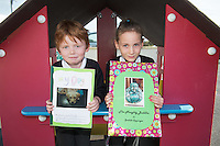 Ollie Gately and Sadhbh Coppinger pupils from North Hampton National school  Co. Galway who will be presented with medals for their prize-winning original story at this year&rsquo;s Write a Book / Scr&iacute;obh Leabhair competition, run by Galway Education Centre, in the Radisson Hotel on Thursday 30th April. <br />  Photo: Andrews Downes XPOSURE