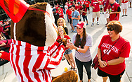 Bucky Badger interacting with students at Badger Bash at Union South in 2014.