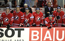 Team Canada and Head Coach Ken Hitchcock (back left) at ice-hockey game Canada vs Germany in Qualifying Round Group F, at IIHF WC 2008 in Halifax,  on May 10, 2008 in Metro Center, Halifax, Nova Scotia,Canada. Canada won 11:1. (Photo by Vid Ponikvar / Sportal Images)