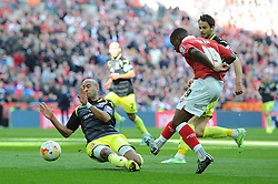 Bristol City's Kieran Agard takes a shot at goal. - Photo mandatory by-line: Dougie Allward/JMP - Mobile: 07966 386802 - 22/03/2015 - SPORT - Football - London - Wembley Stadium - Bristol City v Walsall - Johnstone Paint Trophy Final