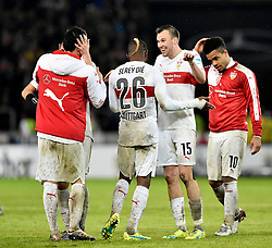 30.12.2015, Mercedes Benz Arena, Stuttgart, GER, 1. FBL, VfB Stuttgart vs Hamburger SV, 19. Runde, im Bild Schlussjubel Jubel nach Spielende v.li.: Filip Kostic VfB Stuttgart Geoffroy Serey Die VfB Stuttgart Kevin Grosskreutz VfB Stuttgart Daniel Didavi VfB Stuttgart // during the German Bundesliga 19th round match between VfB Stuttgart and Hamburger SV at the Mercedes Benz Arena in Stuttgart, Germany on 2015/12/30. EXPA Pictures © 2016, PhotoCredit: EXPA/ Eibner-Pressefoto/ Weber<br /> <br /> *****ATTENTION - OUT of GER*****