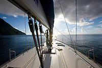 Sailing yacht in the Caribbean.