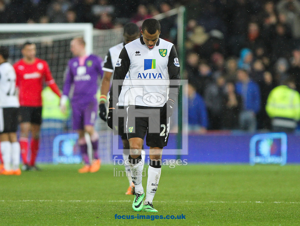 Picture by Tom Smith/Focus Images Ltd 07545141164<br /> 01/02/2014<br /> Martin Olsson of Norwich City looks dejected after the final whistle during the Barclays Premier League match at the Cardiff City Stadium, Cardiff.